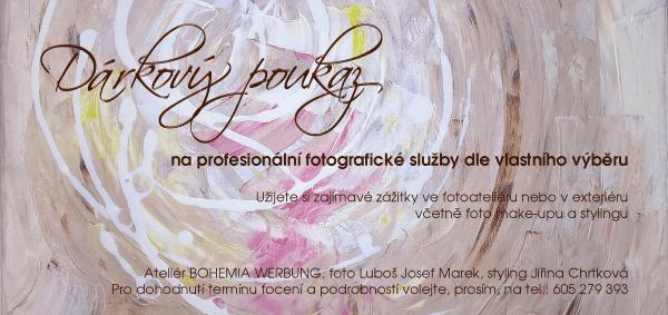 Dárkový poukaz na focení s profesionálním fotografem, vizážistkou - stylistkou ve foto ateliéru Praha voucher