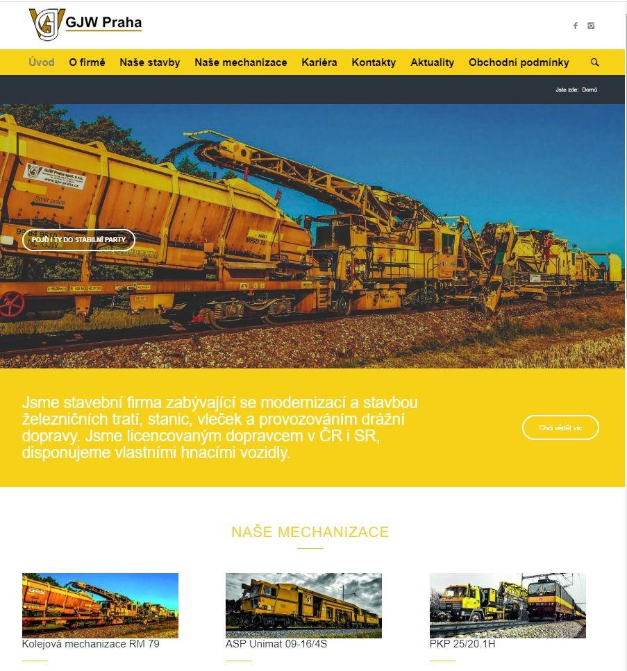GJW Praha nový web, internetová prezentace
